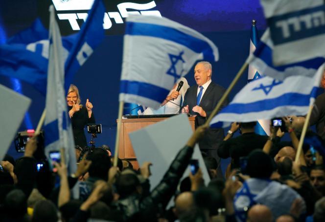 Le premier ministre israélien Benjamin Nétanyahou au QG de campagne du Likoud, à Tel-Aviv, le 3 mars.