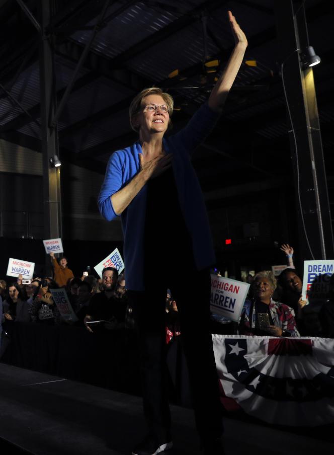 La sénatrice du Massachusetts, Elizabeth Warren, à Detroit (Michigan), le 3 mars.