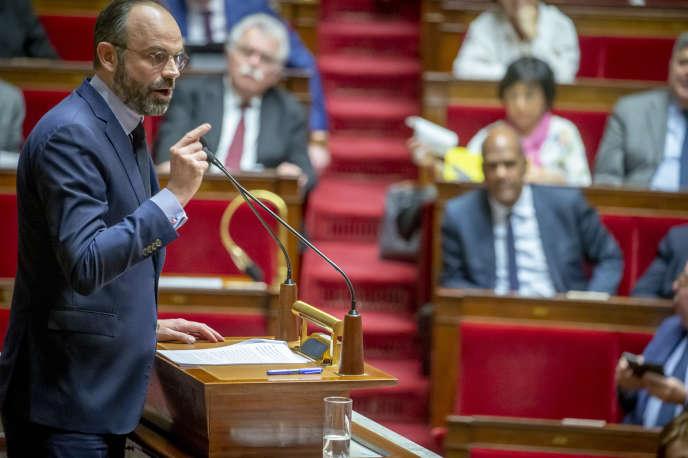 Edouard Philippe, lors du débat d'examen des motions de censure après l'utilisation du 49.3 sur la réforme des retraites à l'Assemblée nationale, le 3 mars 2020.