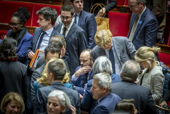 Le premier ministre, Edouard Philippe, lors du débat d'examen des motions de censure après l'utilisation du 49.3 par son gouvernement, à l'Assemblée nationale, le 3 mars.