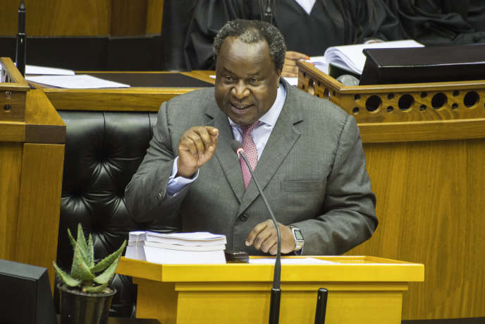 Le ministre sud-africain des financesTito Mboweni lors de la présentation du budget 2020 au Parlement, le 26 février, au Cap.