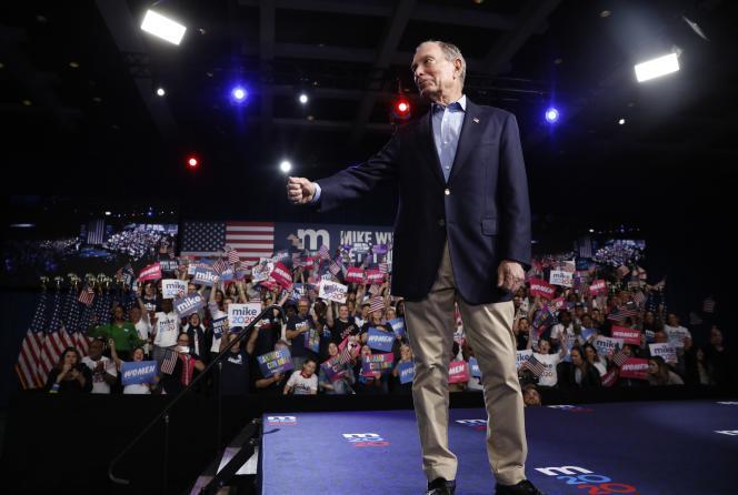 Michael Bloomberg lors de sa soirée du Super Tuesday, à West Palm Beach ( Floride), le 3 mars.