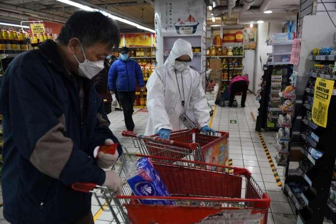 Dans un supermarché, à Pékin, le 3 mars.