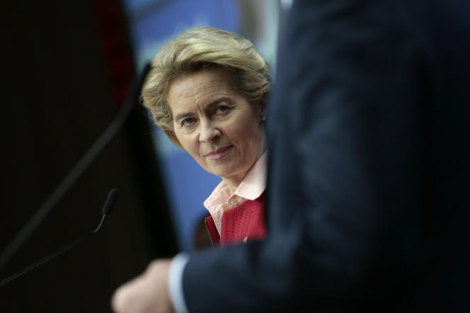 La présidente de la Commission européenne, Ursula von der Leyen, lors d'un sommet européen à Bruxelles, le 21 février.