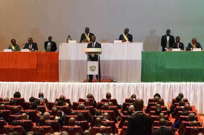 Le président ivoirien Alassane Ouattara, le 5 mars à Yamoussoukro.