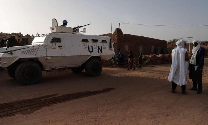 Une patrouille de la Mission des Nations unies au Mali (Minusma) dans Ménaka, en février.