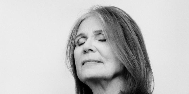 *** SPECIAL FEE APPLIES ***   Portrait of journalist, feminist, and activist Gloria Steinem. *** Local Caption *** portrait horizontal vertical square film BW journalist feminist feminism activist writer B&W B+W