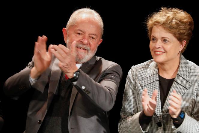 Les anciens chefs d'Etat brésiliens Luiz Inacio Lula da Silva et Dilma Rousseff, venus soutenir la candidature d'Anne Hidalgo à la mairie de Paris, le 2 mars 2020.