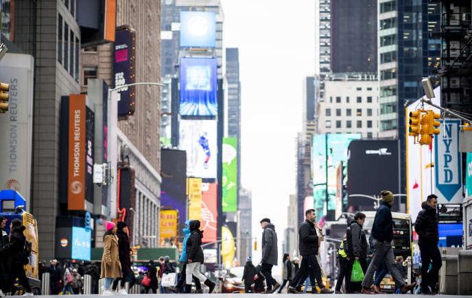 Time Square, Manhattan, le 14 janvier.
