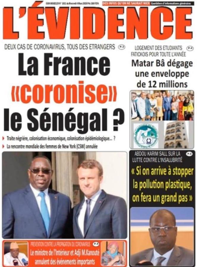 La« une» du quotidien sénégalais « L'Evidence», le 4 mars 2020.