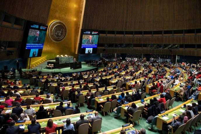 Une assemblée présidée par le secrétaire général de l'ONU,Antonio Guterres, au siège des Nations unies, à New York, le 6 mars 2020.