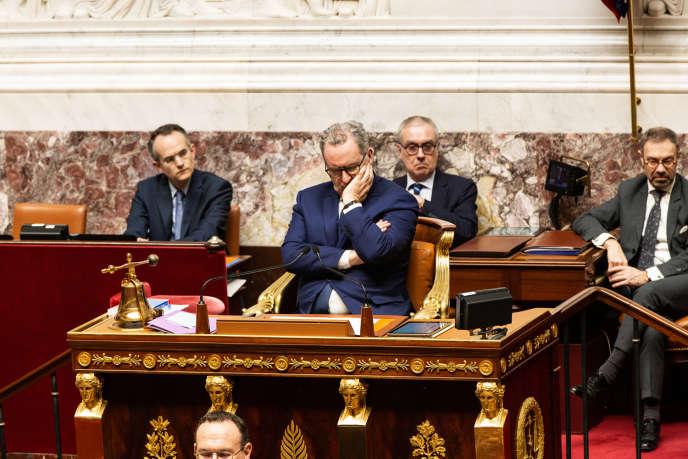Le président de l'Assemblée nationale, Richard Ferrand, le 3mars 2020, au perchoir.