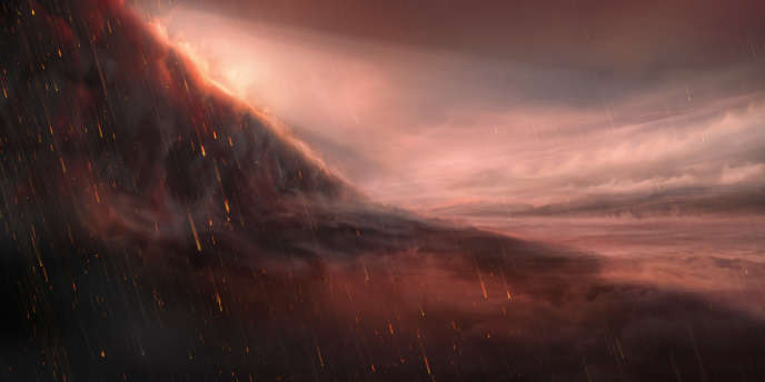 Vue d'artiste représentant l'exoplanète hyperchaude WASP-76b. A gauche de l'image, à la transition entre le jour et la nuit, le fer vaporisé dans l'atmosphère se condense et on aperçoit une pluie de fer fondu.