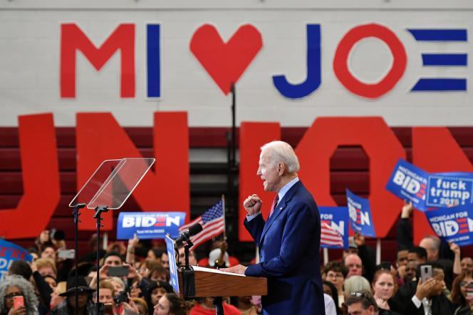 L'ancien vice-président amérircain Joe Biden lors d'un rassemblement à Détroit, Michigan, le 9 mars.