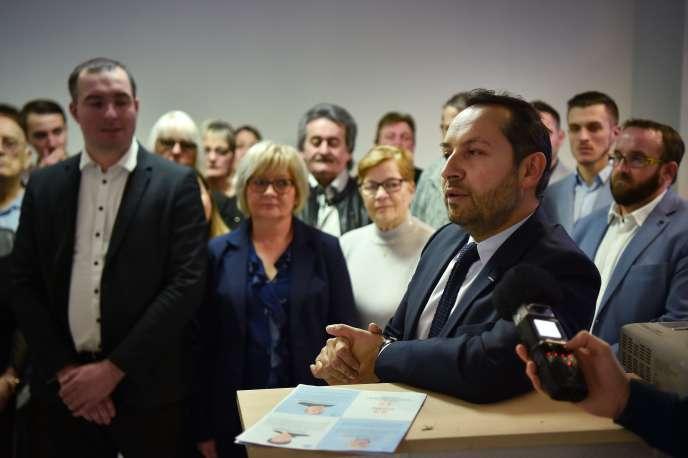 Présentation de la liste Rassemblement national menée par le député du Nord Sébastien Chenu, à Denain (Nord), le 22 février.