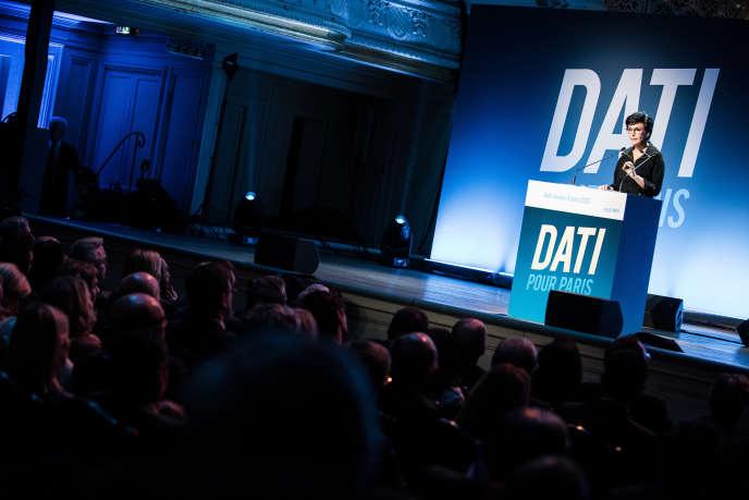 Meeting de Rachida Dati pour la campagne des municipales à Paris, le 9 mars à la salle Gaveau.