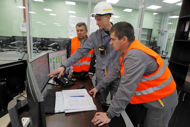 Des employés du site nucléaire de Tchernobyl.