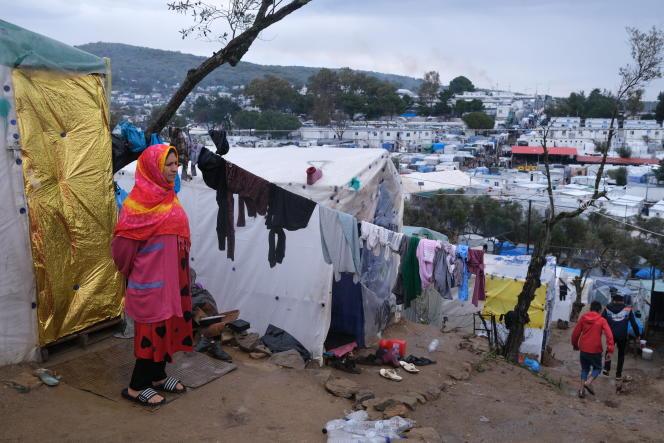 Dans le camp de migrants de Moria, sur l'île grecque de Lesbos, mercredi 11mars.