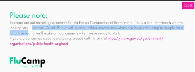 Capture d'écran du site The Flu Camp, qui précise que l'essai clinique en cours ne concerne pas le virus responsable du Covid-19.