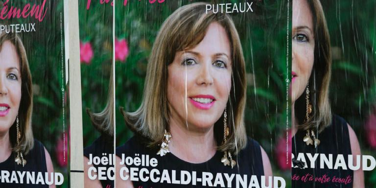 Puteaux - France - 24.02.20  Affiche électorale Joelle Ceccaldi-Raynaud  Affiches électorales Rue Cartault