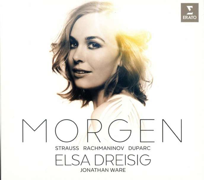 Pochette de l'album «Morgen»(Strauss, Rachmaninov, Duparc), avec Elsa Dreisig (soprano) et Jonathan Ware (piano).