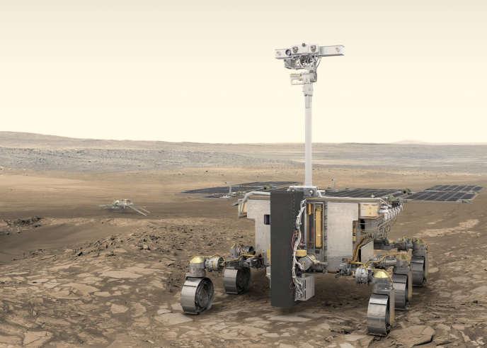 Vue d'artiste du rover «Rosalind-Franklin» sur Mars.