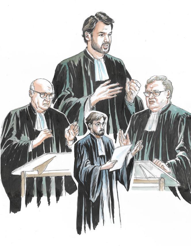 Des avocats de la défense de François et Penelope Fillon : Me Lévy, Me Cornut-Gentille, Me Monin de Flaugergues, Me Veil.