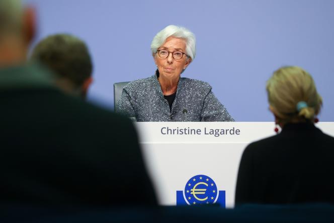 Christine Lagarde, présidente de la BCE, lors d'une conférence de presse à Francfort, le 12 mars.