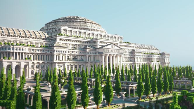 Aperçu de la « Bibliothèque libre » virtuelle construite dans Minecraft par Reporters sans frontières.