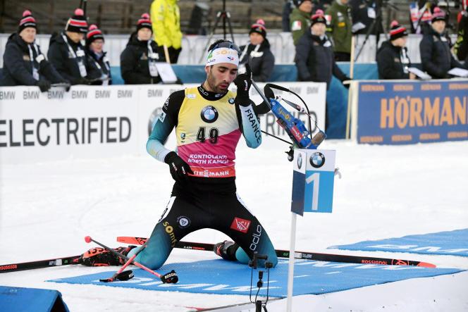 Martin Fourcade lors de l'épreuve masculine de sprint de 10 km de la Coupe du monde de biathlon à Kontiolahti, en Finlande, le jeudi 12 mars 2020.