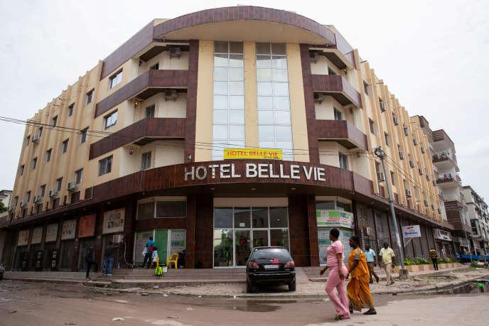 L'hôtel Belle Vie, à Kinshasa, le 11 mars 2020, en quarantaine après avoir hébergé le possible premier patient diagnostiqué au Covid-19 en RDC.