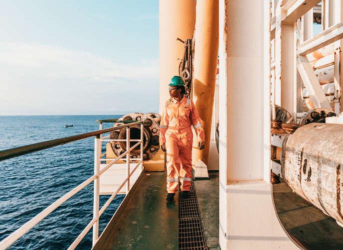 Sur la plateforme pétrolière de Springfield Group, au large du Ghana.