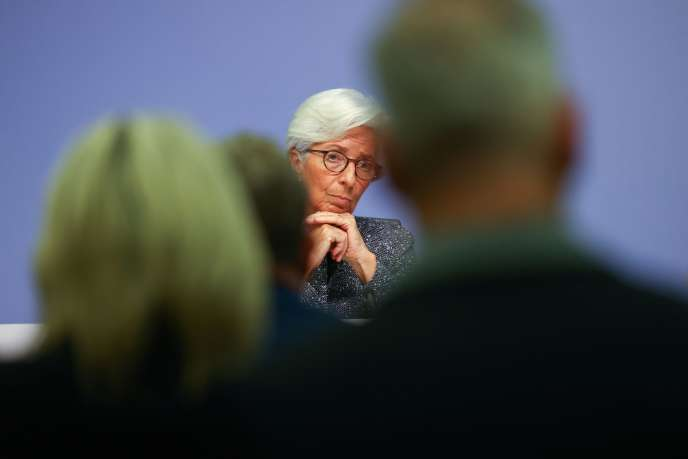 La présidente de la Banque centrale européenne, Christine Lagarde, lors d'une conférence de presse à Francfort, le 12 mars.