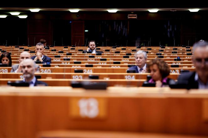 Pendant une session plénière du Parlement européen à Bruxelles, le 10 mars.