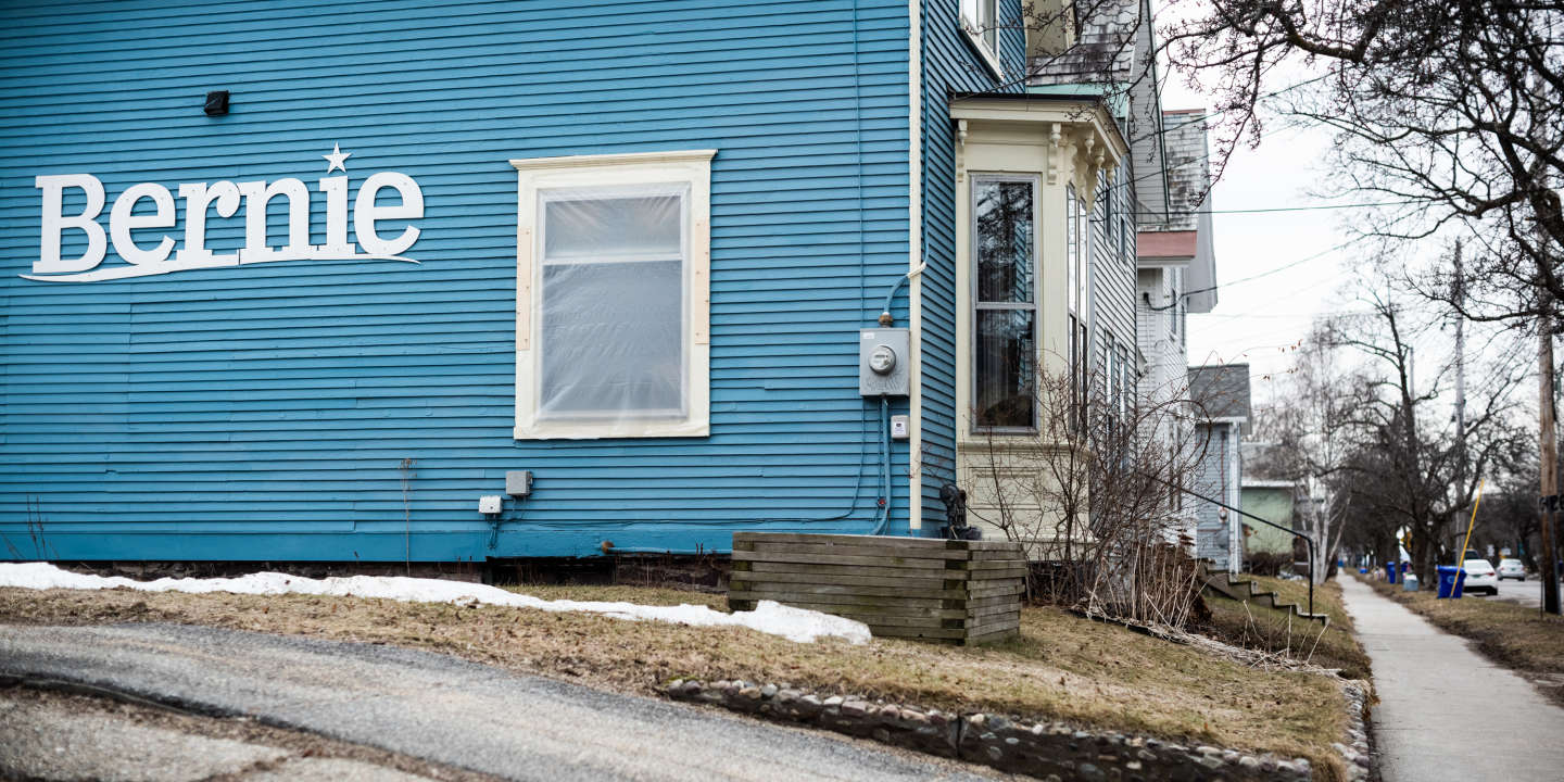 A person decorated their house with a sign supporting Vermont Senator Bernie Sanders, in the Old North End of Burlington, Vermont on Wednesday, March 11, 2020.