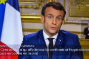 Emmanuel Macron fait une déclaration télévisée à propos de la pandémie due au coronavirus le 12 mars.