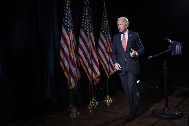 Le candidat à l'investiture démocrate Joe Biden, lors d'un discours sur l'épidémie de Covid-19, à Wilmington, dans le Delaware,le 12 mars.
