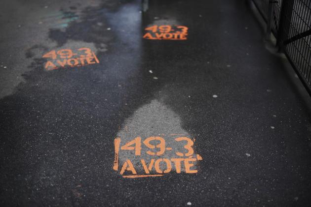 Une inscription sur le sol, à Paris, le 15 mars 2020.