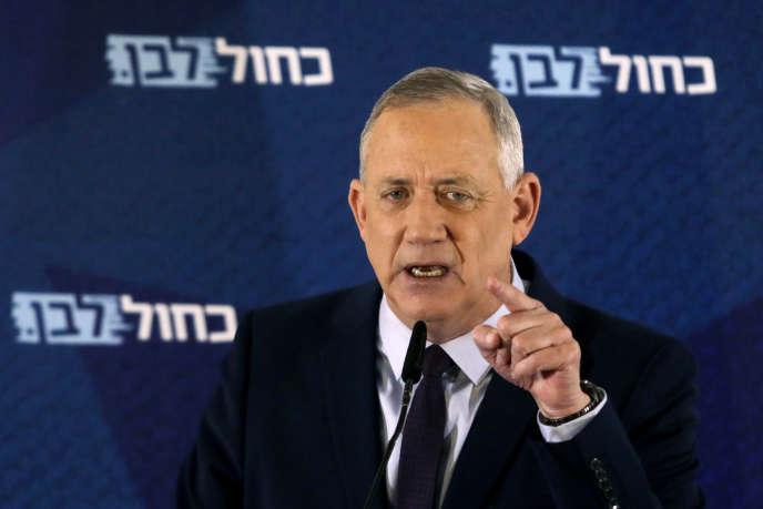 Le leader du parti Bleu et Blanc Benny Gantz à Tel Aviv, le 7 mars.