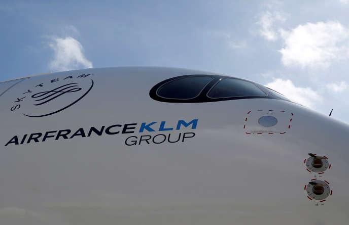 Un Airbus A350 de la compagnie Air France-KLM, au siège du constructeur aéronautique, près de Toulouse, le 27 septembre 2019.