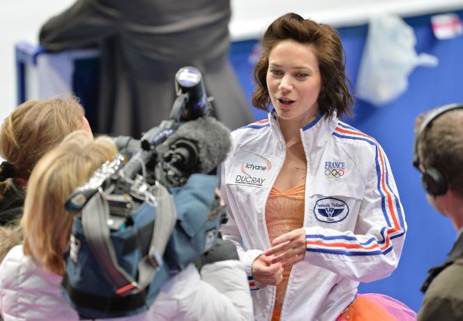 Nathalie Péchalat lors des championnats du monde de danse sur glace à Saitama, au Japon, en 2014.