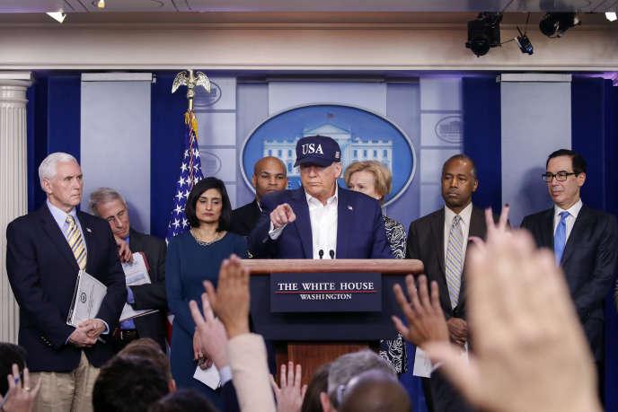 Donald Trumplors d'une conférence de presse à propos de l'épidémie de Covid-19, à la Maison Blanche à Washington, le 14 mars.