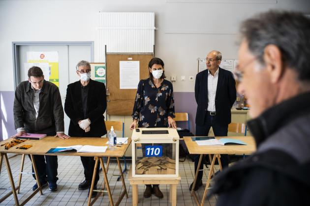Bureau de vote de l'école Periclès à Montpellier, lors du premier tour des élections municipales, le 15 mars 2020.