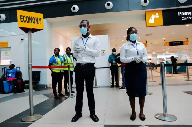 A l'aéroport international de Kotoka, à Accra, le 30 janvier 2020.