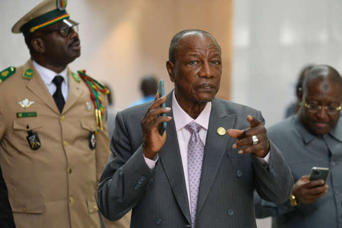 Le président guinéen, Alpha Condé, au siège de l'Union africaine, à Addis-Abeba, le 10février 2020.
