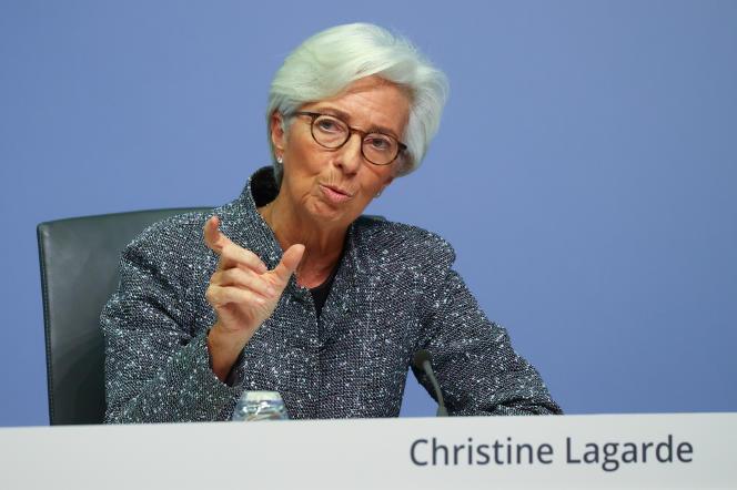 La présidente de la BCE, Christine Lagarde, à Francfort, jeudi 12 mars.