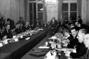 French Prime Minister Georges Pompidou (C), members of the government and French union's representatives attend a meeting of the Grenelle agreements during May-June 1968 events at the Social Affairs ministry in Paris on May 27, 1968. (Photo by - / AFP)