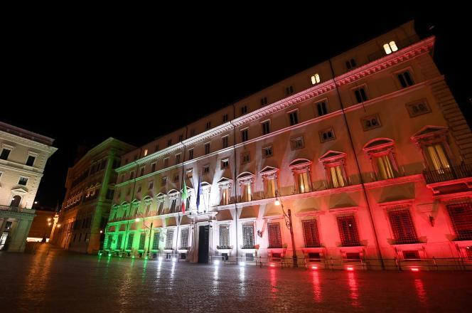 Le Palazzo Chigi, la résidence du président de la République italienne, le 17 mars 2020.