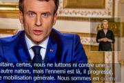 Allocution télévisiée d'Emmanuel Macron, depuis l'Elysée, à Paris, le 16 mars.