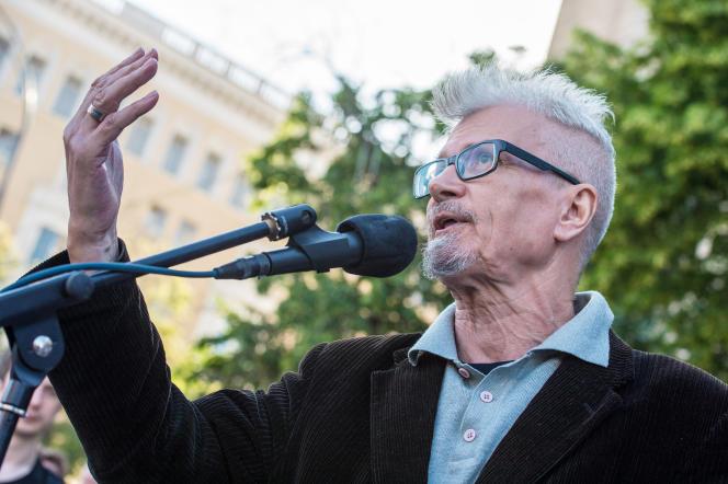 Edouard Limonov lors d'une manifestation à Moscou, en 2014.